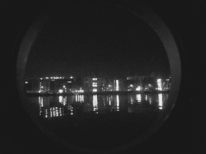 Lights of Amsterdam through our port hole.