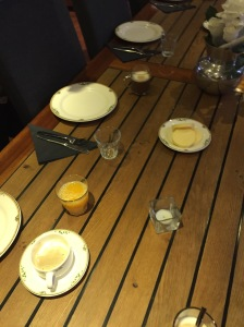 Our last breakfast on board. We always had the best bread and butter and cappuccinos, among other things. :)